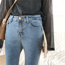 Load image into Gallery viewer, Jeans Denim Women Skinny Pencil Pants Solid Simple Pockets High Waist Womens Chic Korean Style All-match Elasticity Trousers - PrintiLya
