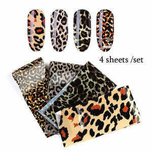 4 Sheets Leopard Nail Art Transfer Foil Sexy Starry Sky Nail Sticker Decals Polish DIY Manicure Decorations Charm Slider - PrintiLya