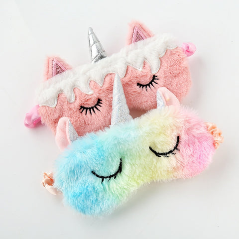 1pc New Unicorn Eye Mask Cartoon Sleeping Mask Plush Eye Shade Cover Eyeshade Suitable For Travel Home Party Gifts - PrintiLya