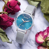 Women's Wristwatches Luxury Silver Popular Pink Dial Flowers Metal Ladies Bracelet Quartz Clock Fashion Wrist Watch 2019 Top - PrintiLya
