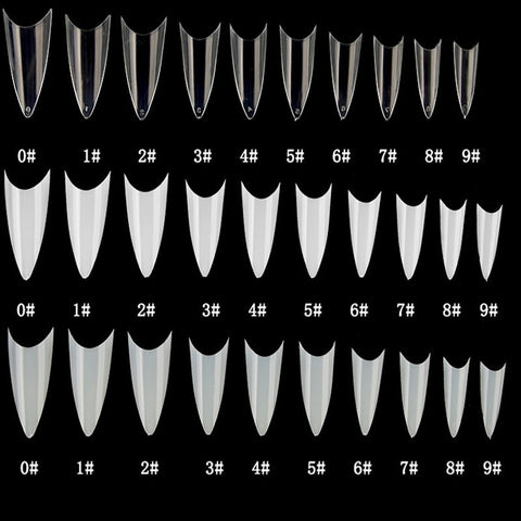 500pcs False nail tips with 10 sizes Nail Tips Stiletto French Acrylic False Nails ABS Tips Artificial 0 -9 sizes Nail Art Tips - PrintiLya