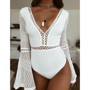 2019 Women Lace Bodysuit Sexy Deep V-Neck Flare Sleeve Playsuit Romper Ladies Backless Long Sleeve Hollow Out Body Suit Overalls - PrintiLya