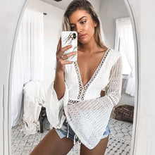 Load image into Gallery viewer, 2019 Women Lace Bodysuit Sexy Deep V-Neck Flare Sleeve Playsuit Romper Ladies Backless Long Sleeve Hollow Out Body Suit Overalls - PrintiLya