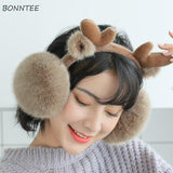 Earmuffs Women Winter Trendy Students Kawaii Animal Cartoon Deer Womens Earmuff High Quality Warm Ladies Ear Warmers Lovely