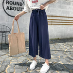 2019 Women Casual Loose Wide Leg Pants Womens Elegant Fashion Preppy Style Trousers Female Pure Color Females New Palazzo Pants - PrintiLya