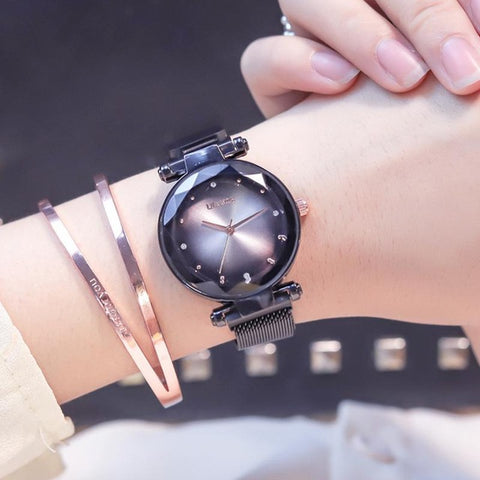 Exquisite Magnet Magnetic Force Unique Creative Band Women Luxury Quartz Watches Ladies Dress Wristwatches - PrintiLya