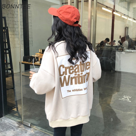 Hoodies Women Winter Ulzzang Warm Elegant Letter Printed Trendy Long Sleeve Womens Sweatshirts Korean O-neck Ladies Pullover - PrintiLya