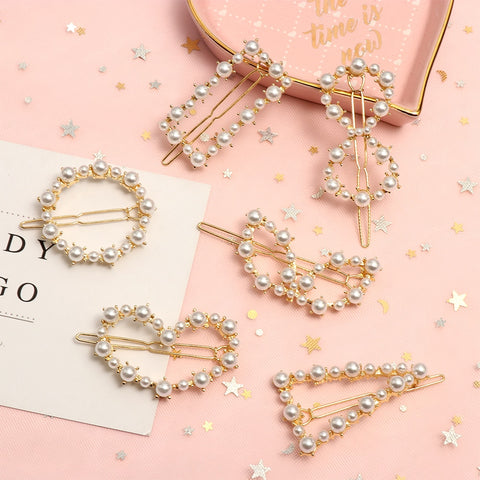 Women Fashion Hair Accessories Metal Pearl Hairpins Lady Simple Hair Clip Barrette Headwear Hair Styling Tool - PrintiLya