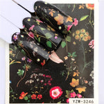 1 PC Black Flower / Character/Princess Designs Water Transfer Sticker Nail Art Decals DIY Fashion Wraps Tips Manicure Tools - PrintiLya