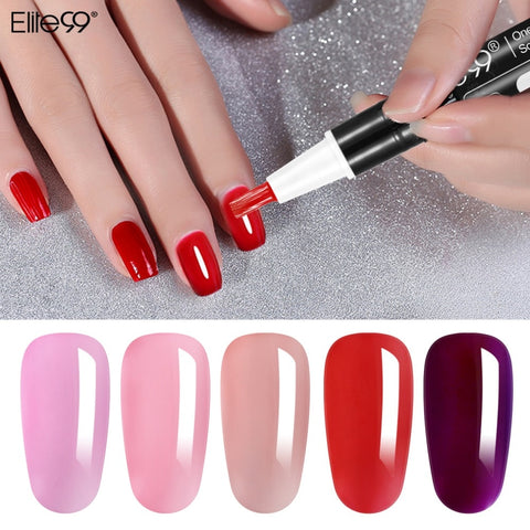 Elite99 3 In 1 Gel Nail Varnish Pen Glitter One Step Nail Gel Polish Easy To Use No Need Top Base Coat Nail Art Gel Lacquer - PrintiLya
