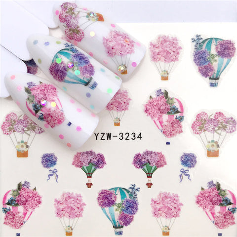 FWC 2019 New Arrivial Lavender Series Water Decal Animal / Flamingo / Flower 3D Manicure Sticker Nail Water Sticker - PrintiLya