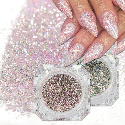 1Box Holographic Platinum Nail Art Glitter Mix Flakes Sparkly Sequins Manicure Dust Laser Silver Gold Powder Gel Decoration - PrintiLya