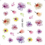 Nail Stickers on Nails Blooming Flower Stickers for Nails Lavender Nail Art Water Transfer Stickers Decals 3D Embossed Flower