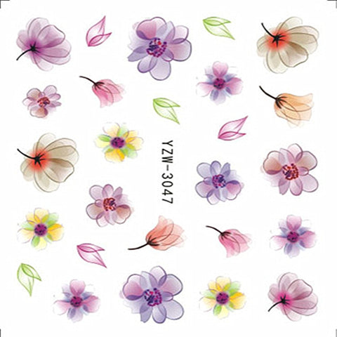 Nail Stickers on Nails Blooming Flower Stickers for Nails Lavender Nail Art Water Transfer Stickers Decals 3D Embossed Flower - PrintiLya