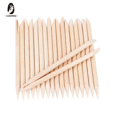 Ladymisty 100 Pcs/Packs Nail Art Design Cuticle Pusher Orange Wood Stick Sticks Cuticle Pusher Remover Manicure Pedicure Care - PrintiLya