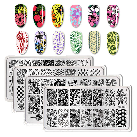 BORN PRETTY Nail Stamping Plates Flower Geometry Nature Series Nail Template Stamp Image Manicure Stamp Plate DIY Nail Designs - PrintiLya
