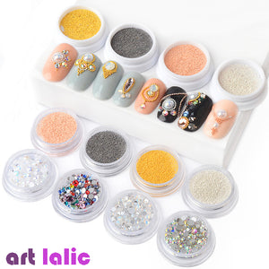 0.4/0.6mm 3D Metal Micro Beads Stainless Steel Nails Caviar Beads AB Colorful Flat Bottom Opal Nail Art Rhinestones Decorations - PrintiLya