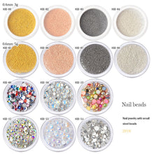 Load image into Gallery viewer, 0.4/0.6mm 3D Metal Micro Beads Stainless Steel Nails Caviar Beads AB Colorful Flat Bottom Opal Nail Art Rhinestones Decorations - PrintiLya
