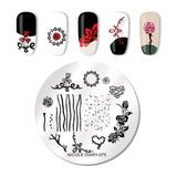 NICOLE DIARY Flowers Nail Stamping Plates Set with Clear Jelly Stamper Scrapper Flower Leaf Nail Art Image Plate Kit - PrintiLya