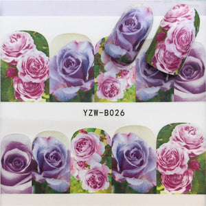 48 Designs Nail Sticker Set Rose Watercolor Ink Tribe Animal Puzzle Decal Water Transfer Slider For Nails Art Decor - PrintiLya