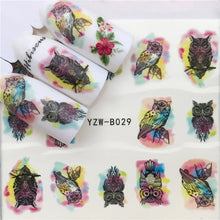 Load image into Gallery viewer, 48 Designs Nail Sticker Set Rose Watercolor Ink Tribe Animal Puzzle Decal Water Transfer Slider For Nails Art Decor - PrintiLya