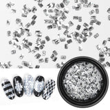 3D Sparkly Diamond Flakes Nail Sequins DIY Laser Silver White Shiny Tip Rhinestones Manicure Paillette Nail Glitter Decor - PrintiLya