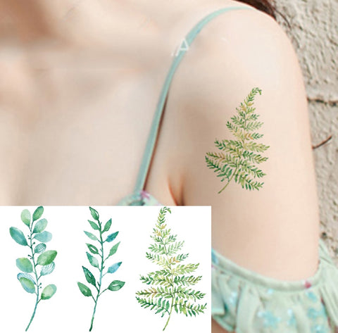Colored fashion waterproof temporary tattoo sticker women flash fake tatoo tatto henna blue flower tree - PrintiLya
