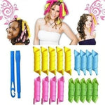 18pcs/14pcs Automatic Zero Damage Curler Long Hair Curlers Kit Not hurting Formers Ringlets Bendy Rollers Hair Styling Tools - PrintiLya