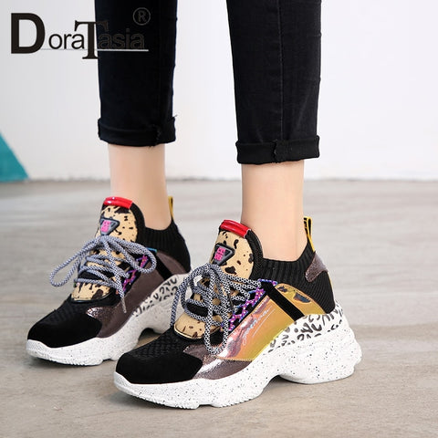 DoraTasia 2019 New Spring 35-42 Genuine Leather Suede Sneakers Female Horsehair Decoration Casual Shoes For Ladies Shoes Woman - PrintiLya
