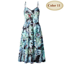 Load image into Gallery viewer, Sexy V Neck Backless Floral Summer Beach Dress Women 2019 White Boho Striped Button Sunflower Daisy Pineapple Party Midi Dresses - PrintiLya