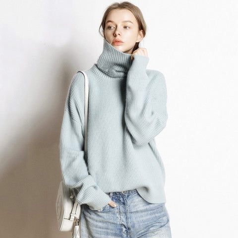 Turtleneck Knitted Cashmere Sweater Female Winter Casual Streetwear Pullovers Warm Loose Sweaters Fashion 2019 Women Plus Size - PrintiLya