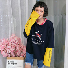Load image into Gallery viewer, Hoodies Harajuku Oversize Women Korean Style Fake Two Piece Sweatshirts Loose Printed Character Trendy Casual Long Sleeve Womens - PrintiLya