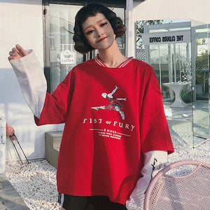 Hoodies Harajuku Oversize Women Korean Style Fake Two Piece Sweatshirts Loose Printed Character Trendy Casual Long Sleeve Womens - PrintiLya