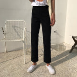 Jeans Women 2019 High Waist Loose Straight Leisure Ankle-length Korean Style Womens Jean All-match Simple Zipper Fly Daily Chic - PrintiLya