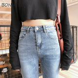 Jeans Denim Women Scratched Solid Zipper Pockets Trousers Womens Chic All-match High Waist Pencil Pants Ladies Korean Students - PrintiLya
