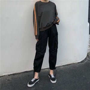 Pants Women 2019 Ankle-Length High Drawstring Waist Solid Pockets Womens Leisure Loose Korean Style Simple All-match Trendy Chic - PrintiLya