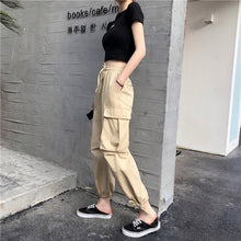 Load image into Gallery viewer, Pants Women 2019 Ankle-Length High Drawstring Waist Solid Pockets Womens Leisure Loose Korean Style Simple All-match Trendy Chic - PrintiLya