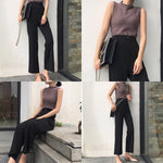 Pants Women New Chic Korean Style High Waist Loose Ankle-length Trousers Womens Leisure Simple Elegant Solid Straight Pant Soft - PrintiLya