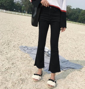 Jeans Women Slim Elastic Ripped Retro Womens Flare Jean Ankle-length Korean Style All-match Simple Trendy Zipper Fly Daily Chic - PrintiLya