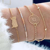 30 Style Boho Bangle Elephant Heart Shell Star Moon Bow Map Crystal Bead Bracelet Women Charm Party Wedding Jewelry Accessories - PrintiLya