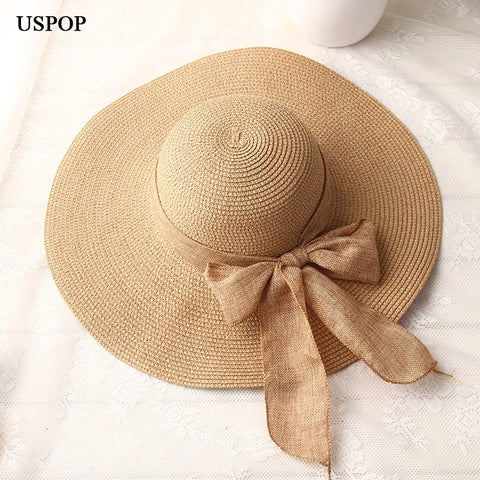 USPOP 2019 fashion women sun hats hand made straw hat female ribbon bow-knot wide brim beach hat casual summer shade anti uv cap - PrintiLya
