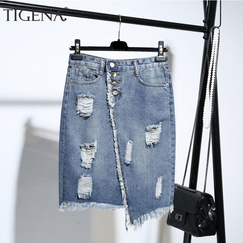 Fashion Midi Denim Skirt Women Summer Light Blue Hole Ripped Jeans Skirt Female Button Tassel School Skirt - PrintiLya