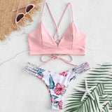 Bikini 2019 Sexy WWomen Bikini Cut Flower Two Piece Swimsuit Pushups Swimwear Beachwear Off shoulder swimsuit female - PrintiLya