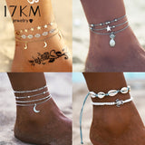 Vintage Gold Silver Color Multilayer Anklets For Women Bohemian Moon Map Beads Leaves Anklet Bracelet 2019 DIY Boho Jewelry - PrintiLya