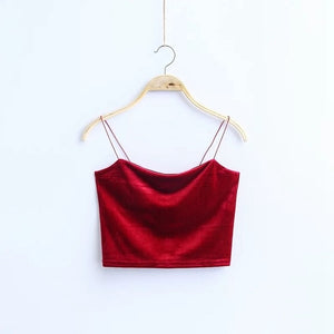 2019 New Women Fashion Korea Style Red Black Solid Color Short Section Sexy Camisole Female Tie Gold Velvet tops - PrintiLya
