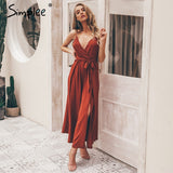 Simplee Sexy floral print jumpsuits women V neck split spaghetti strap long overalls  Summer beach loose female jumpsuit 2019 - PrintiLya