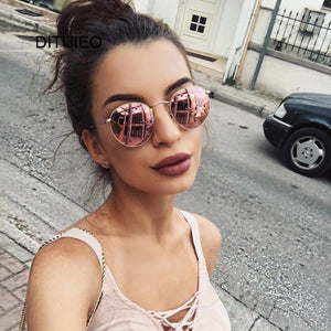 New Brand Designer Vintage Oval Sunglasses Women Retro Clear Lens Eyewear Round Sun Glasses For Female Ladies Oculos De Sol - PrintiLya