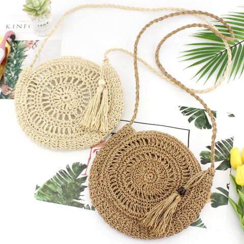 Rattan Woven Round Women Straw Bag Handbag Knit Summer Beach Bag Woman Shoulder Messenger Bag Tassel Khaki Beige Bags - PrintiLya