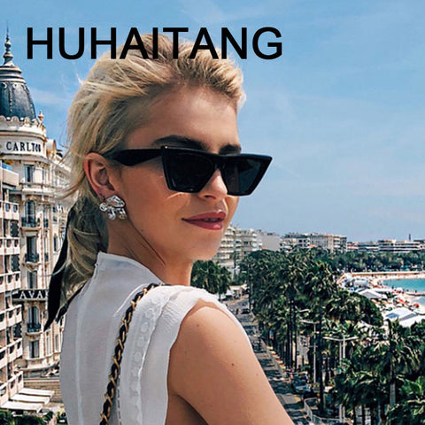 HUHAITANG Vintage Luxury Brand Square Sunglasses Women 2019 Cateye Sun Glasses Shades For Woman Sunglass Ladies Retro Sunglases - PrintiLya