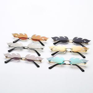 New 2019 Fashion Fire Flame Sunglasses Women Men Rimless Wave Sun Glasses Eyewear Luxury Trending Narrow Sunglasses Streetwear - PrintiLya